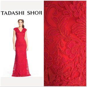 Tadashi Shoji red lace gown